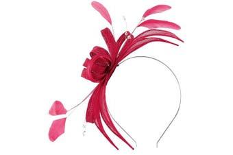 (Raspberry) - Failsworth Millinery Sinamay Fascinator