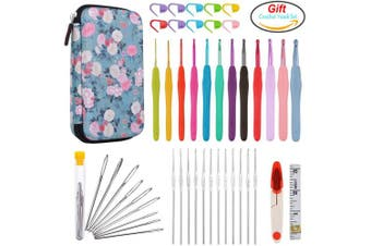 ALL-in-One Crochet Hooks Set PLUS Large-Eye Blunt Needles Yarn Knitting with Case and More Accessories! Ergonomic Handle for EXTREME COMFORT. Ultimate Gift Set!