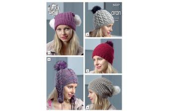 King Cole 5037 Knitting Pattern Womens Hats in King Cole Merino Blend Aran and Fashion Aran