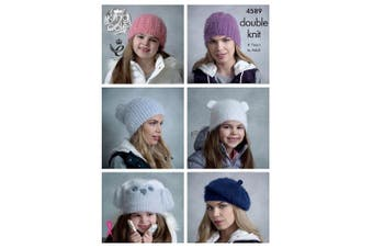 King Cole Womens & Girls Double Knitting DK Pattern Slouchy Cabled Teddy Ears & Owl Hats (4589) by King Cole