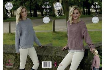 King Cole 4749 Knitting Pattern Womens Sweaters in King Cole Merino Blend DK