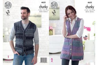 King Cole 4635 Knitting Pattern Easy Knit Womens Mens Waistcoats in King Cole Cotswold Chunky