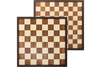 Inlaid wooden double sided Chess / International Draughts board 42 x 42 cm