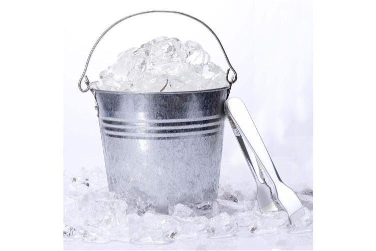 (1 Pack) - TRUSBER Ice Tongs for Ice Bucket, Stainless Steel Food Serving Tongs, with Claw Grip Teeth 17cm Perfect for Block Ice Sugar Cubes Bar Hotel Home & Kitchen (Silver)