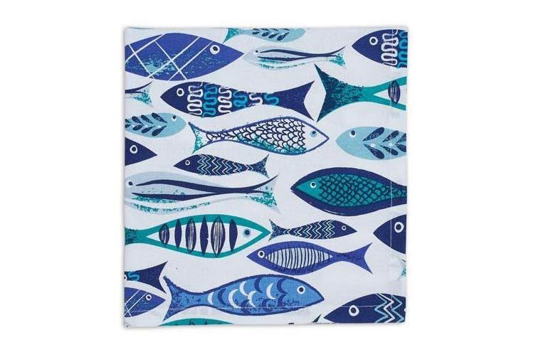 "(20"" x 20"" - Napkin, Blue School) - Design Imports Blue Santorini Cotton Table Linens, Printed Napkin 50cm by 50cm , Blue School"