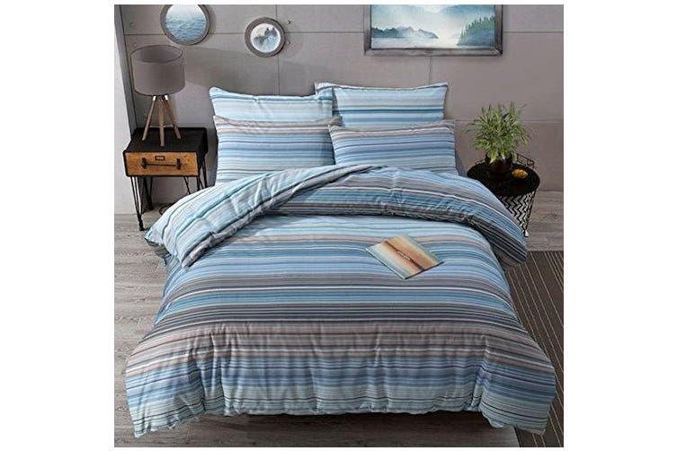 (Ombre Stripe Blue, Double) - clicktostyle Polycotton Duvet Cover Set with Pillow Cases Bedding Sets (Ombre Stripe Blue, Double)