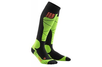 (II) - CEP Women Merino Ski Socks – Black/Lime