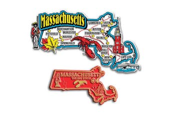 Jumbo & Small State Map Magnet Set - Massachusetts