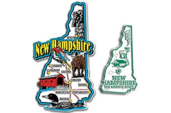 Jumbo & Small State Map Magnet Set - New Hampshire
