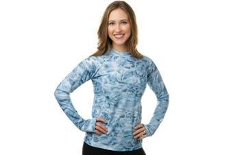 (Aqua Sky, XXXL) - Aqua Design Women Loose Fit Long Sleeve UPF Sun Protection Swim Surf Athletic Rash Guard With Thumb Holes Top Vest T-Shirt