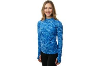 (Royal Ripple, Large) - Aqua Design Women Loose Fit Long Sleeve UPF Sun Protection Swim Surf Athletic Rash Guard With Thumb Holes Top Vest T-Shirt
