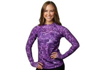 (Liquid Purple, X-Small) - Aqua Design Women Loose Fit Long Sleeve UPF Sun Protection Swim Surf Athletic Rash Guard With Thumb Holes Top Vest T-Shirt