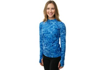 (Royal Ripple, X-Large) - Aqua Design Women Loose Fit Long Sleeve UPF Sun Protection Swim Surf Athletic Rash Guard With Thumb Holes Top Vest T-Shirt