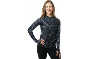 (Black Water, X-Small) - Aqua Design Women Loose Fit Long Sleeve UPF Sun Protection Swim Surf Athletic Rash Guard With Thumb Holes Top Vest T-Shirt