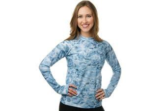 (Aqua Sky, X-Small) - Aqua Design Women Loose Fit Long Sleeve UPF Sun Protection Swim Surf Athletic Rash Guard With Thumb Holes Top Vest T-Shirt