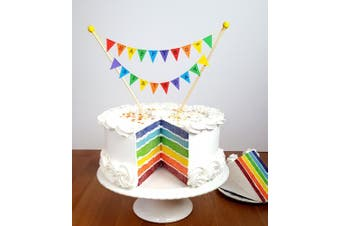 (50th) - Amazing Buntings-Happy 50th Fifty Birthday-Cake Topper-Mini Bunting Rainbow Party Decoration-Fully Assembled-Hand Made in UK-212