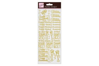 (Wedding Anniversary Outline Stickers, Gold) - Anita's Wedding Anniversary Outline Stickers - Gold on White