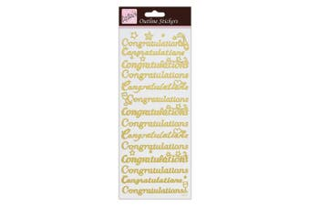 (Congratulations Outline Stickers, Gold) - Anita's Congratulations Outline Stickers - Gold on White