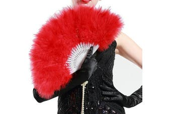 (Red) - ArtiDeco 1920s Marabou Feather Fan Flapper Folding Hand Fans Feather Fan Handheld for 20s Vintage Gatsby Party