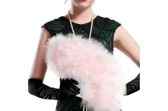 (Lightpink) - ArtiDeco 1920s Marabou Feather Fan Flapper Folding Hand Fans Feather Fan Handheld for 20s Vintage Gatsby Party