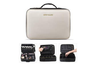 BEGIN MAGIC Portable Makeup Train Case / Travel Makeup Bag / Medium Cosmetic Organiser Case with PU Leather (M) (black / white)