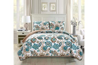 (King/California King, White, Brown, Teal Floral) - Fancy Collection 3pc King California King Oversize Quilted Coverlet Bedspread Set Floral White Brown Teal Reversible New