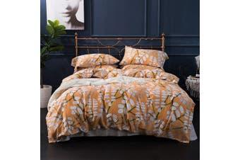 (King, Orange Sorbet) - Modern Vintage Retro Mod Print Bedding Egyptian Cotton Duvet Cover Set Minimalist Chic Botanical Design Asian Zen Style Reversible Pattern in Full Queen or King Size (King, Orange Sorbet)