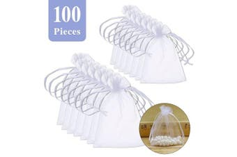 BornFeel Organza Gift Bags 100pcs Wedding Favour Bags with Drawstring Jewellery Pouches Wrap White 7cm x 9cm
