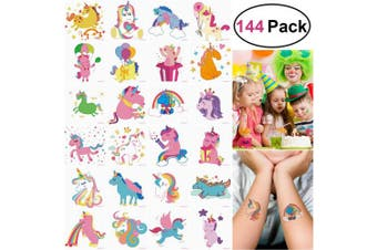 (Unicorn Tattoos) - UNOMOR 144PCS 5.1cm x 5.1cm Unicorn Temporary Tattoos for Unicorn Party Supplies Party Favours and Kids Birthday Party--24Patterns