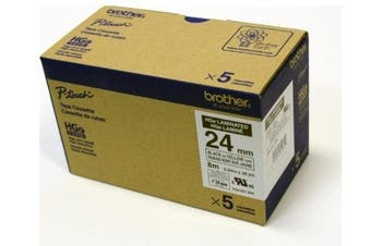 Brother Mobile HGE6515PK Hge High Grade Standard Adhesive Tape, 2.4cm W x 8m L, Black Ink on Yellow Label