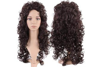 S-noilite® Full Head Long Layered Wigs Cosplay For Women Fancy Dress [ 70cm -Curly / Dark Brown ]
