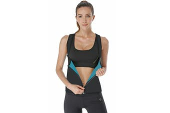 (Black(Front zipper), XL) - LaLaAreal Women Slimming Vest Hot Sweat Top for Weight Loss Waist Trainer Neoprene Workout suit Cincher Tummy Control Body Shaper