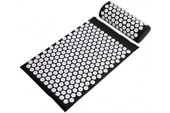 (black) - BalanceFrom Acupressure Mat and Pillow Set for Back and Neck Pain Relief and Muscle Relaxation Massage