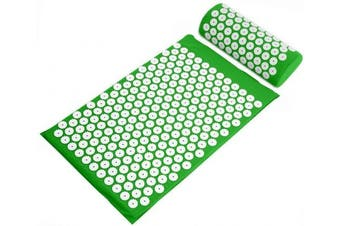 (green) - BalanceFrom Acupressure Mat and Pillow Set for Back and Neck Pain Relief and Muscle Relaxation Massage
