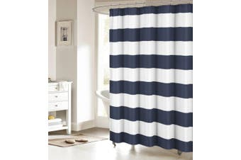 (Extra Long 180cm  x 210cm , Navy and White) - ALAGO Nautical Stripe Design Fabric Shower Curtain - Navy and White 180cm x 210cm Long