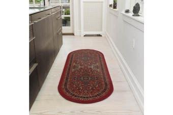 (0.6m X 1.5m Oval, Red Heriz) - Ottomanson Ottohome Collection Persian Heriz Oriental Design Non-Skid (Non-Slip) Rubber Backing Modern Area Rug, 0.6m X 1.5m Oval, Dark Red