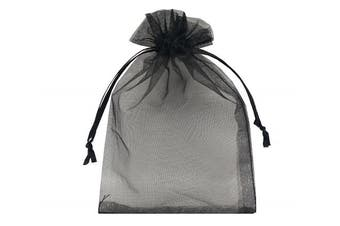 (Black) - Ankirol 100pcs Sheer Organza Bags 10cm x 15cm Wedding Baby Shower Favours Gift Card Bags Samples Orders Display Drawstring Pouches (black)