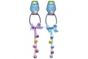 Egg-Shaped Pastel Easter Door Knob Hangers With Bells, 5.1cm - 30cm Set, 1 Blue And 1 Purple