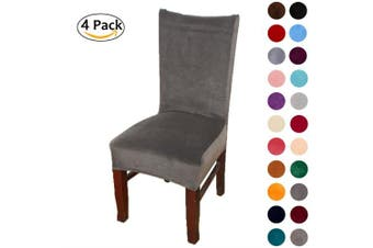 (4-Medium, Dark Grey) - Colorxy Velvet Spandex Fabric Stretch Dining Room Chair Slipcovers Home Decor Set of 4, Dark Grey