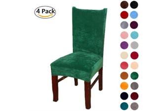 (4-Medium, Dark Green) - Colorxy Velvet Spandex Fabric Stretch Dining Room Chair Slipcovers Home Decor Set of 4, Dark Green