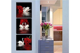 (12X12inX3pcs) - Amoy Art -3 Panels Beautiful Romantic Swans Art Print on Canvas Red Rose Flowers Wall Art Decor Stretched Frames for Bedroom Bathroom Ready to Hang