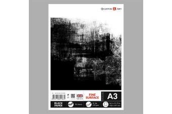 A3 Black Paper Drawing Sketch Artist Paper Pad GUMMED Book 120 gsm - 30 sheets