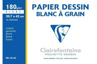 (29.7 x 42 cm, 180 g (10 Sheets)) - Clairefontaine Grained Drawing Paper, 180 g, 29.7 x 42 cm, 10 Sheets