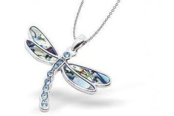 Natural Abalone Paua Shell Ornate Dragonfly Necklace in delicate blue/green with 46cm rhodium plated fine jewellery chain (P178)