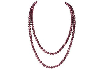(Wine Red) - BABEYOND Art Deco Fashion Faux Pearls Flapper Beads Cluster Long Pearl Necklace 140cm