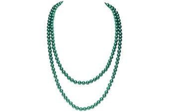 (Dark Green) - BABEYOND Art Deco Fashion Faux Pearls Flapper Beads Cluster Long Pearl Necklace 140cm