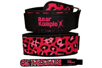 (Pink Leopard, X-Large 100cm  - 110cm  waist) - Bear KompleX 10cm Straight Weightlifting Belt for Powerlifting, Squats, Weight Training and More. Low Profile with Super Firm Back for Maximum Stability & Exceptional Comfort.