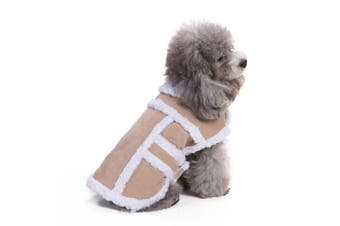 (S(Back:23cm  Neck:17cm  - 23cm  Chest:32cm  - 39cm ), Tan) - Bwogue Small Dog Warm Winter Coat - Shearling Fleece Dog Jackets for Small to Medium Breeds Dog