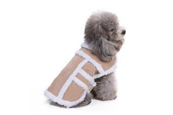(XL(Back:38cm  Neck:32cm  - 38cm  Chest:44cm  - 60cm ), Tan) - Bwogue Small Dog Warm Winter Coat - Shearling Fleece Dog Jackets for Small to Medium Breeds Dog