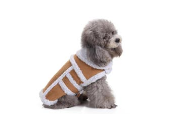 (S(Back:23cm  Neck:17cm  - 23cm  Chest:32cm  - 39cm ), Coffee) - Bwogue Small Dog Warm Winter Coat - Shearling Fleece Dog Jackets for Small to Medium Breeds Dog